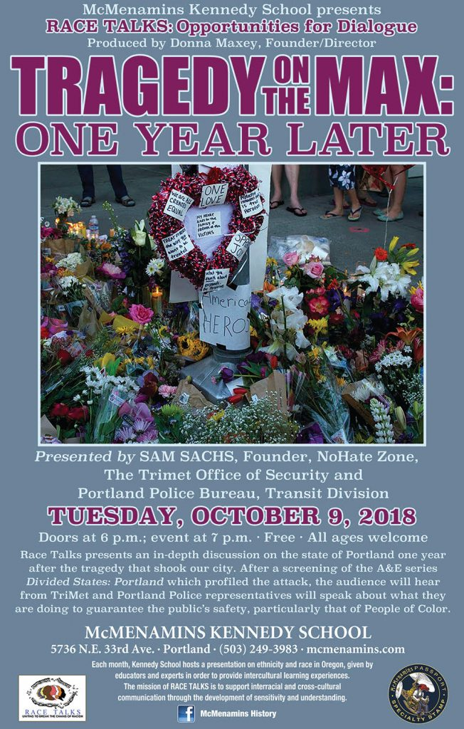 even poster : tragedy on the max - site of the memorial with flowers and candles