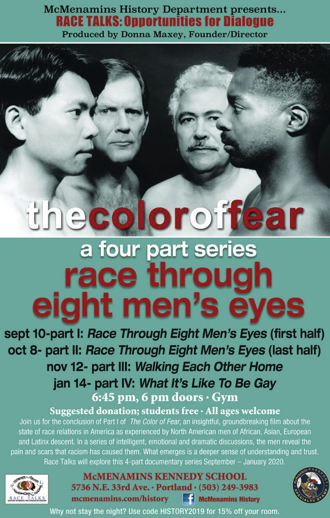 4 faces of men of color on event poster
