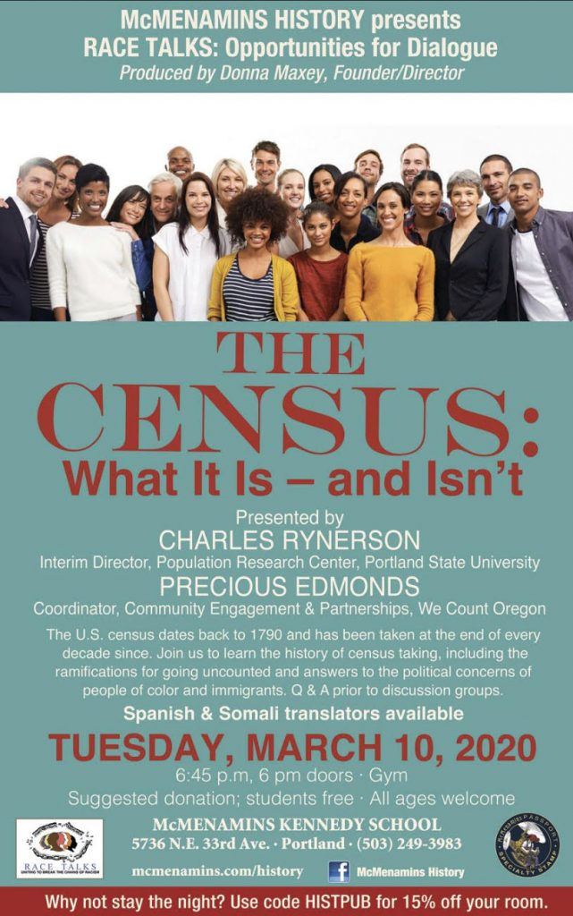 the census Racetalks event poster