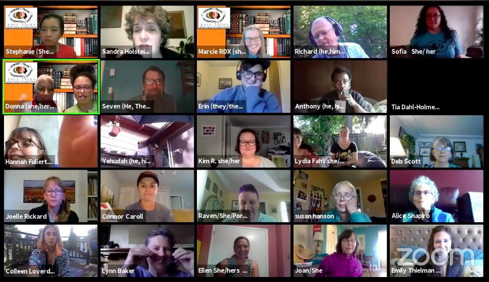 group view of a zoom meeting for race talks